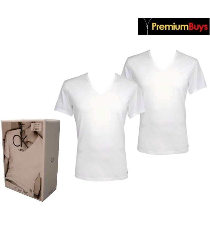 a6d4c43f0e80 2 PACK MENS CALVIN KLEIN COTTON V- NECK T-SHIRT WHITE