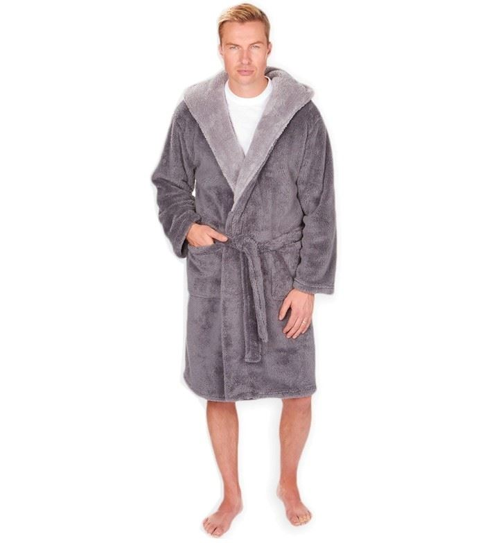 MICHAEL PAUL MEN\'S HOODED SNUGGLE DRESSING GOWN GREY