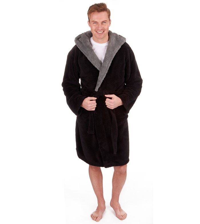 MICHAEL PAUL MEN\'S HOODED PLAIN DRESSING GOWN BLACK
