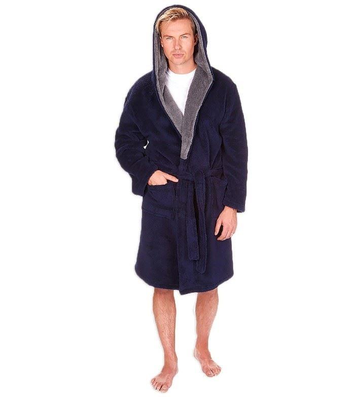 MICHAEL PAUL MEN\'S HOODED SNUGGLE DRESSING GOWN GREY