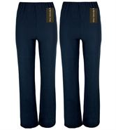 MICHAEL PAUL LADIES PACK OF 2 FINELY RIBBED BOOTLEG STRETCH NAVY TROUSERS