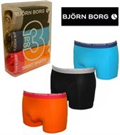 3 MENS BJORN BORG BOXERSHORTS / TRUNKS; BLACK, BLUE, ORANGE