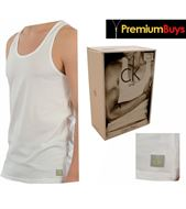 2 PACK MENS CALVIN KLEIN TANK TOPS WHITE