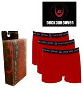 3 MENS DUCK AND COVER BOXERSHORTS / TRUNKS RED