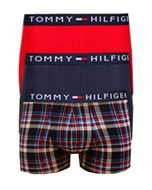 TOMMY HILFIGER 3 PACK COTTON/ELASTANE BOXER TRUNKS  PeacoatPT (Navy/Red/Check)