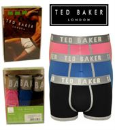 3 MENS TED BAKER BOXERSHORTS / TRUNKS PINK/BLUE/BLACK