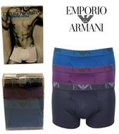 3 MENS EMPORIO ARMANI BOXERSHORTS / TRUNKS PURPLE/BLUE/NAVY