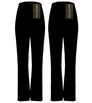 MICHAEL PAUL LADIES PACK OF 2 FINELY RIBBED BOOTLEG STRETCH BLACK TROUSERS