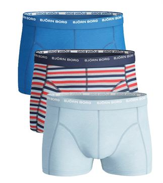 BJORN BORG MENS 3 PACK BOXERS / TRUNKS  Navy stripe