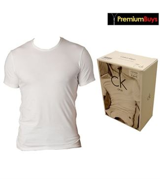 2 PACK MENS CALVIN KLEIN COTTON CREW NECK T-SHIRT WHITE