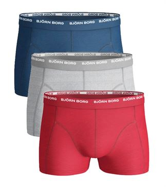 BJORN BORG MENS 3 PACK BOXERS / TRUNKS  Navy/Red/Grey