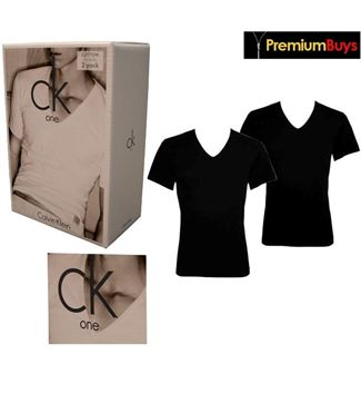 2 PACK MENS CALVIN KLEIN COTTON V- NECK T-SHIRT BLACK